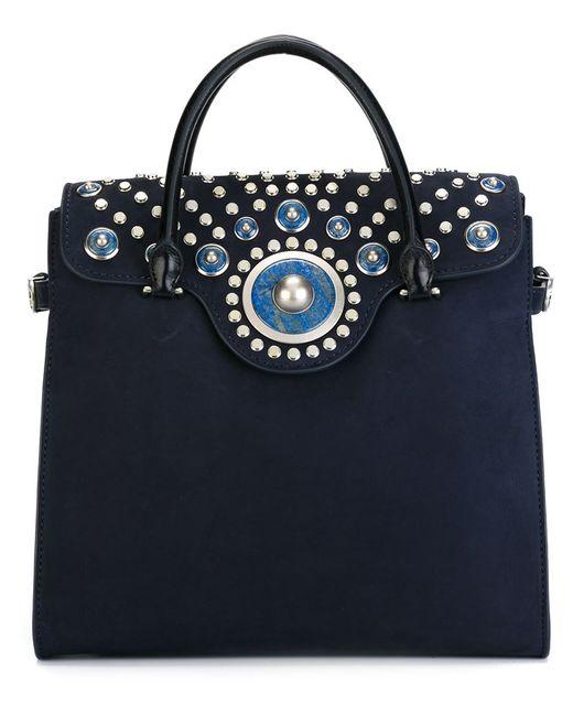Tory Burch | Женская Синяя Сумка-Тоут Embellished Carpet Bag