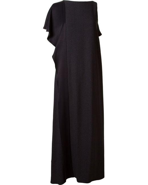 FERNANDA YAMAMOTO   Женское Чёрное Асимметричное Длинное Платье С Оборками