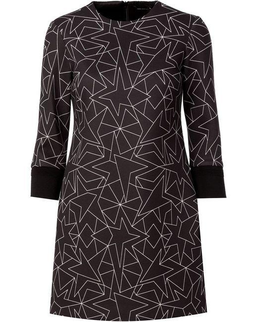 Neil Barrett | Женское Чёрное Платье-Шифт С Принтом Звезд