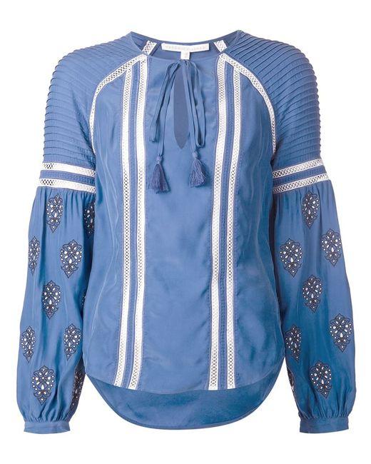Veronica Beard   Женское Синий Embroidered Tunic Blouse