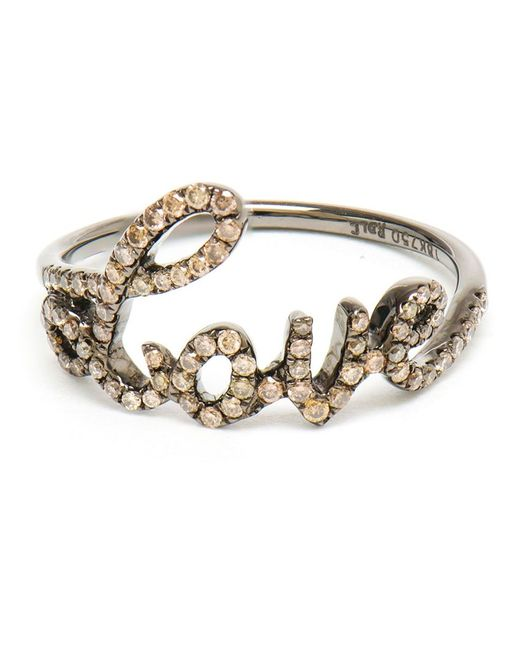ROSA DE LA CRUZ   Женское Коричневый Love 18kt Oxidised And Diamond Ring