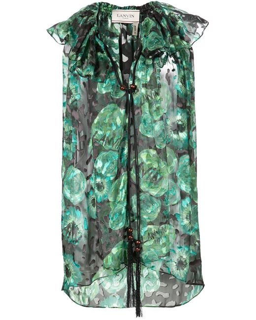 Lanvin | Женское Зелёный Print Sleeveless Top