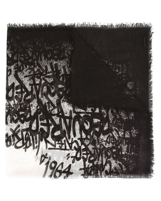 Dsquared2 | Мужской Чёрный Шарф С Принтом Граффити