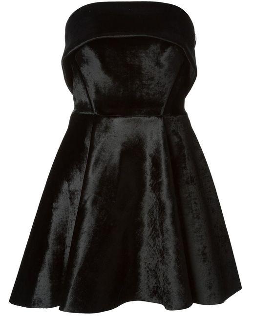 David Koma | Женское Чёрное Платье-Футляр С Кожаными Деталями