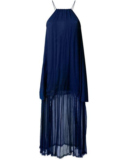 KITX | Женское Синее Шелковое Платье Без Рукавов