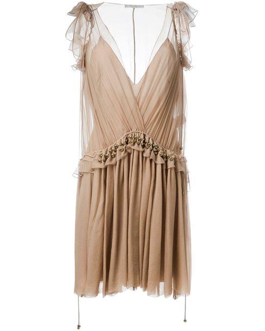 Chloe | Женское Nude & Neutrals Плиссированное Платье С Глубоким Вырезом