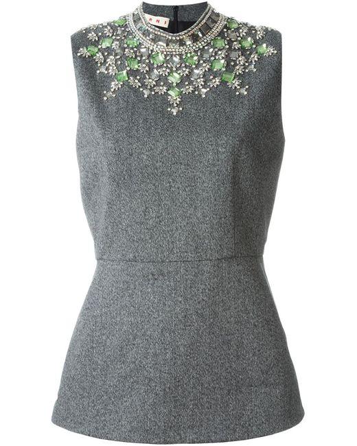 Marni | Женский Серый Декорированный Топ