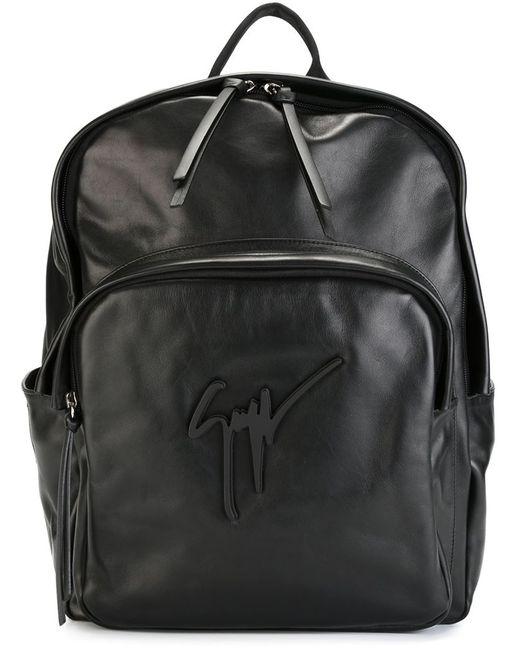 Giuseppe Zanotti Design | Мужской Чёрный Рюкзак С Подписью-Логотипом
