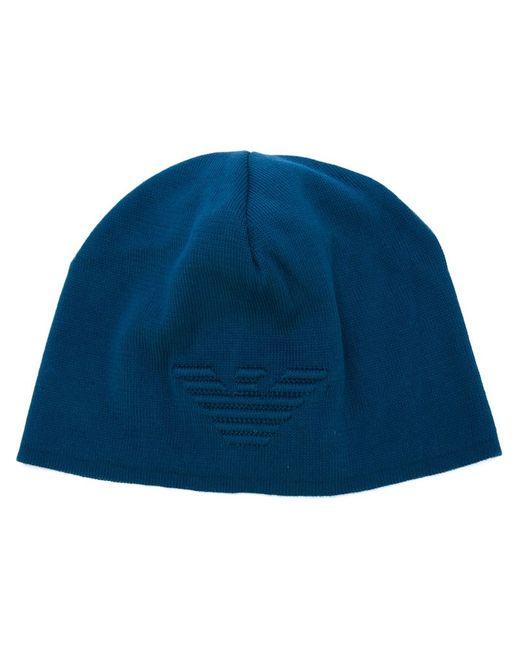 Emporio Armani   Мужская Синяя Шапка С Вышитым Логотипом