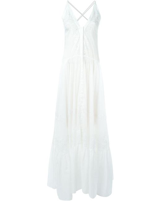 Roberto Cavalli | Женское Белый Flared Embroidered Maxi Dress