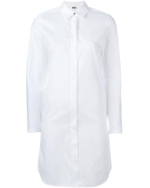 MM6 by Maison Margiela | Женское Белое Платье-Рубашка С Разрезами На Плечах