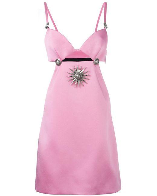 Fausto Puglisi   Женское Розовое Платье С Вырезными Деталями