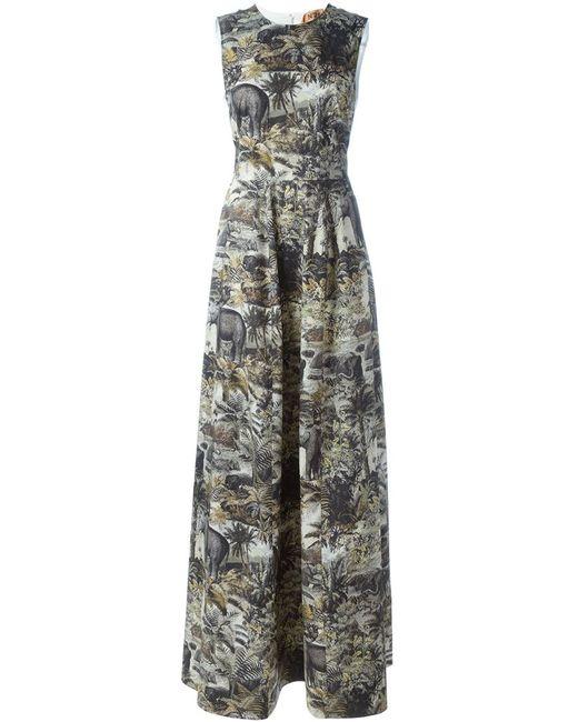No21   Женское Чёрное Вечернее Платье С Принтом Джунглей