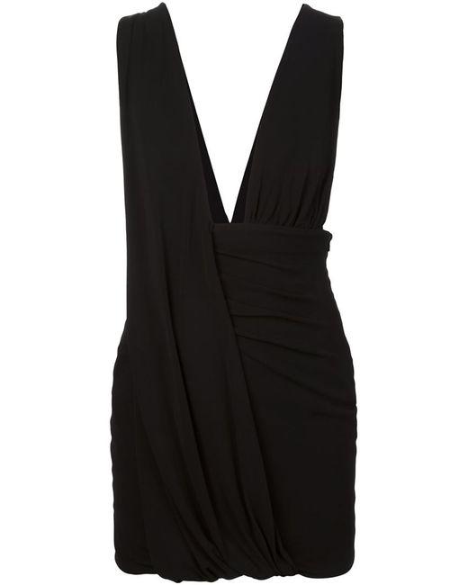 Anthony Vaccarello | Женское Чёрное Драпированное Мини-Платье