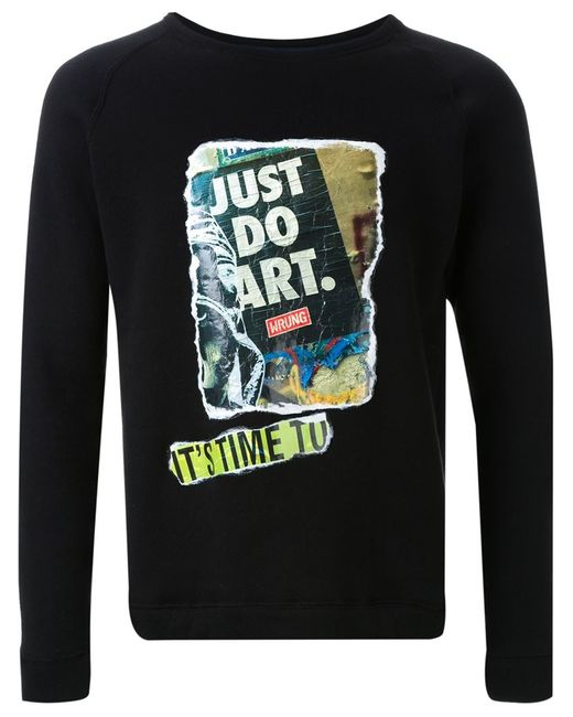 FADTHREE | Мужское Чёрный Graffiti Appliqué Sweatshirt