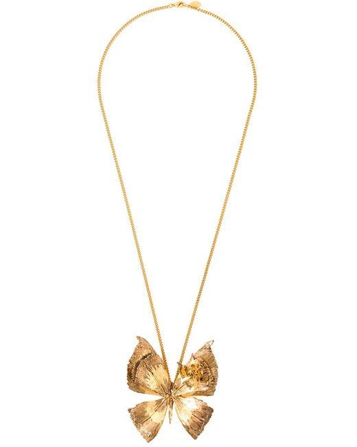 Alexander McQueen | Женское Серебристое Ожерелье С Кулоном В Форме Бабочки
