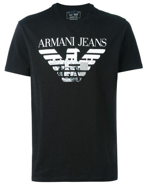 ARMANI JEANS   Мужская Чёрная Футболка С Принтом-Логотипом