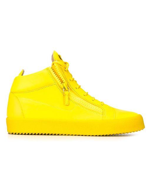 Giuseppe Zanotti Design   Мужское Желтый Zip Detail Hi-Top Sneakers