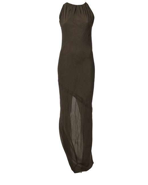 Rick Owens | Женское Зелёное Вечернее Платье Без Рукавов