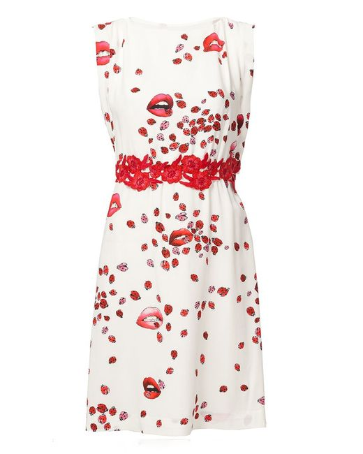 GIAMBA | Женское Белое Платье С Принтом Губ