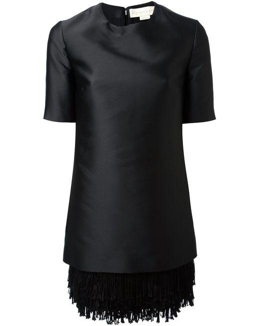 Stella Mccartney | Женское Чёрное Платье С Бахромой На Подоле