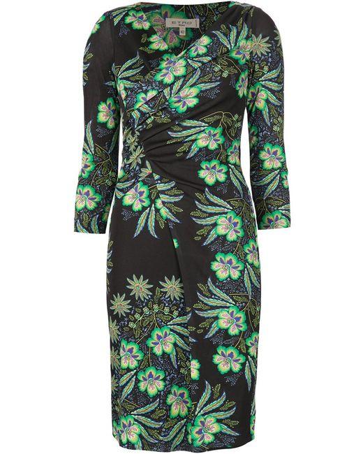 Etro | Женское Чёрное Приталенное Платье С Цветочным Принтом