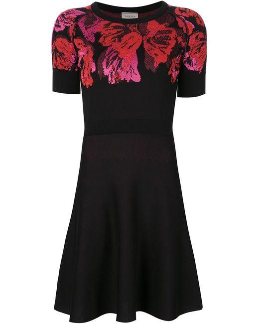 Lanvin   Женское Чёрное Платье Скейтер С Цветочным Принтом
