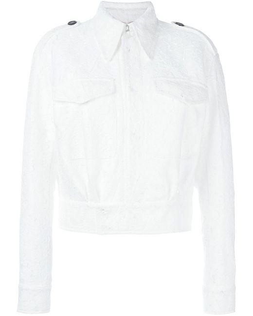 No21   Женская Белая Кружевная Куртка-Бомбер