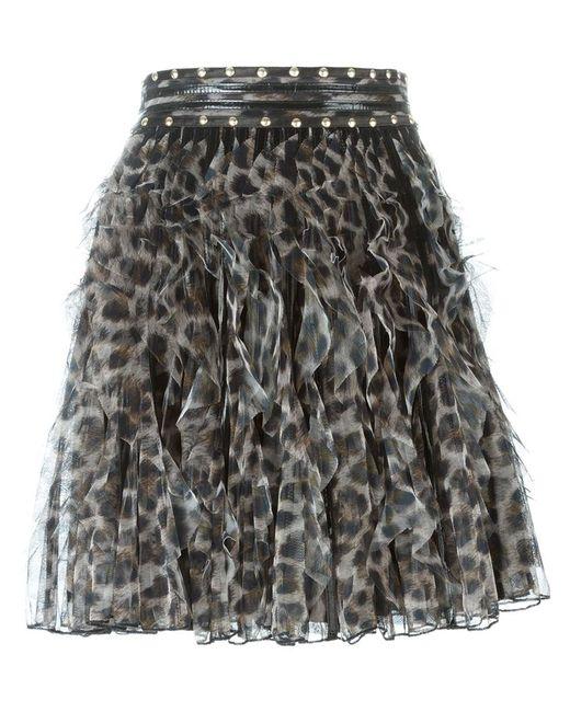 Just Cavalli | Женская Чёрная Юбка С Леопардовым Принтом