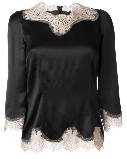 Dolce & Gabbana   Женская Чёрная Блузка С Кружевной Отделкой