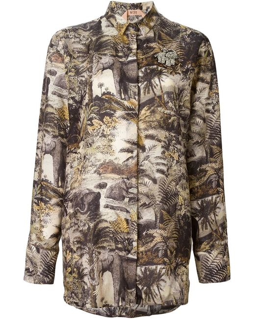 No21   Женская Многоцветная Рубашка С Принтом Джунглей