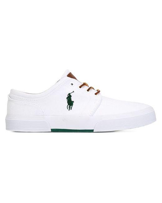Polo Ralph Lauren   Мужские Белые Кеды На Шнуровке