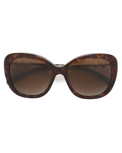 Chanel Vintage | Женские Коричневые Солнцезащитные Очки С Жемчужинами