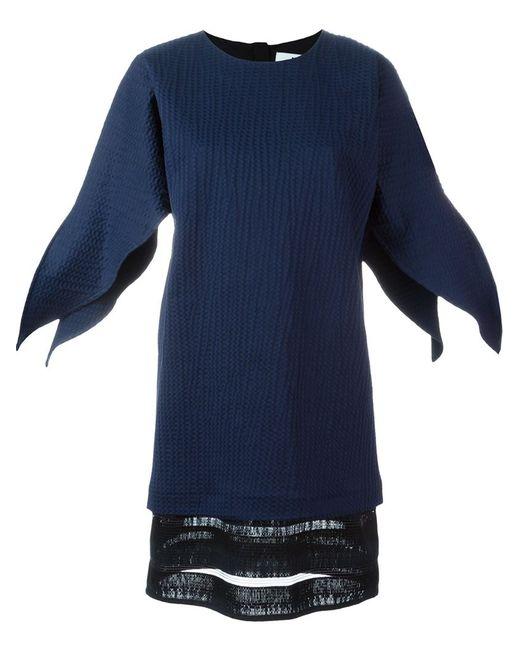 MSGM | Женское Синее Платье Шифт С Контрастным Подолом