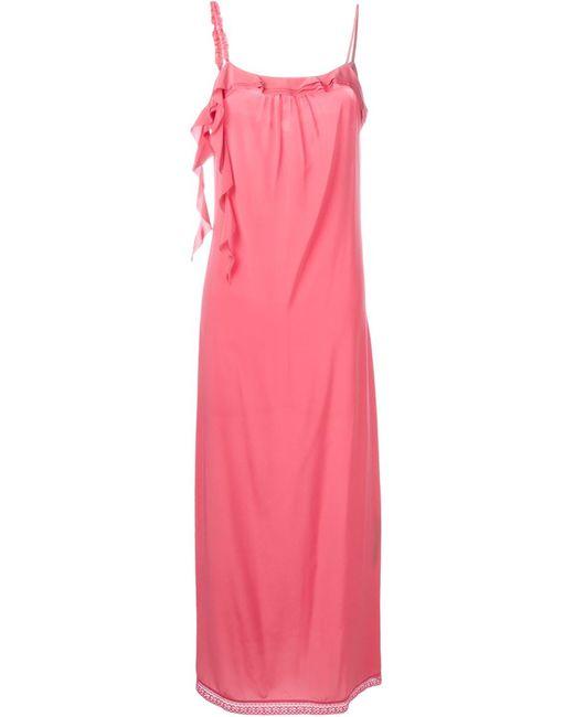 Twin-set   Женское Розовое Платье На Бретелях С Рюшами