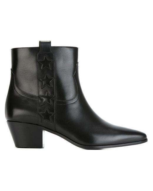 Saint Laurent   Женские Чёрные Ботинки По Щиколотку Wyatt