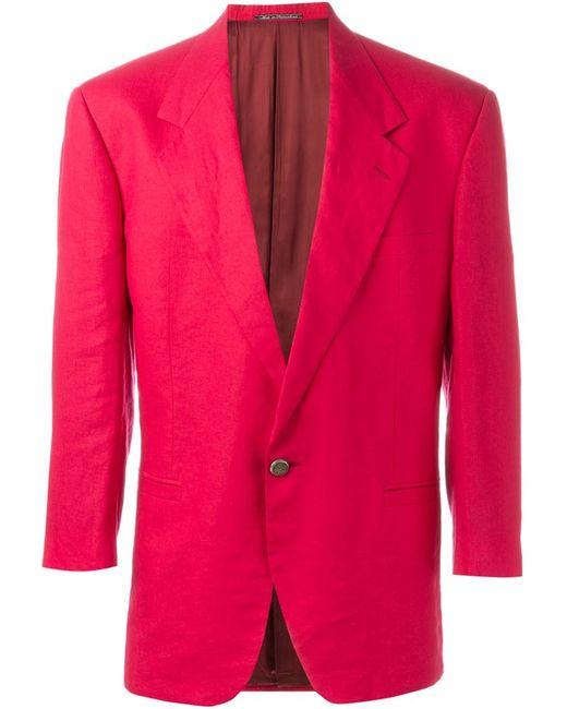 Versace | Мужской Красный Льняной Пиджак