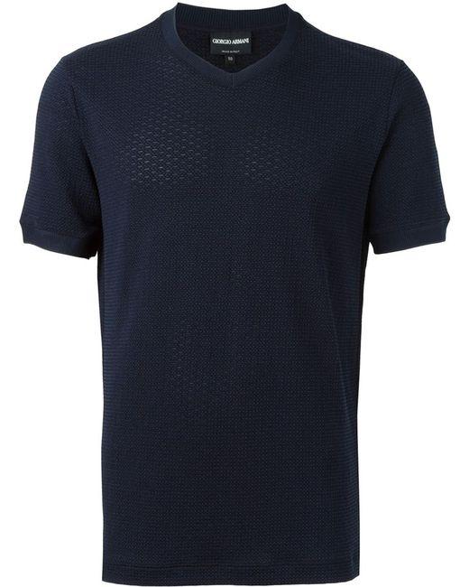 Giorgio Armani | Мужская Синяя Футболка С V-Образным Вырезом