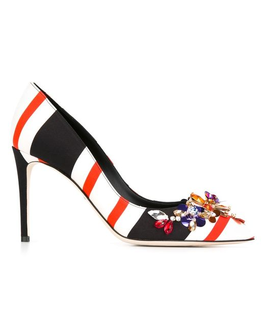 Dolce & Gabbana | Женские Многоцветные Декорированные Туфли В Полоску