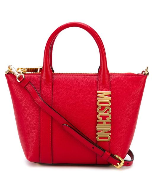 Moschino   Женская Красная Сумка-Тоут С Логотипом