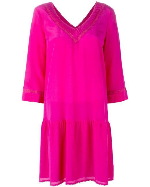 Twin-Set Jeans | Женское Розовое Платье Шифт C V-Образным Вырезом