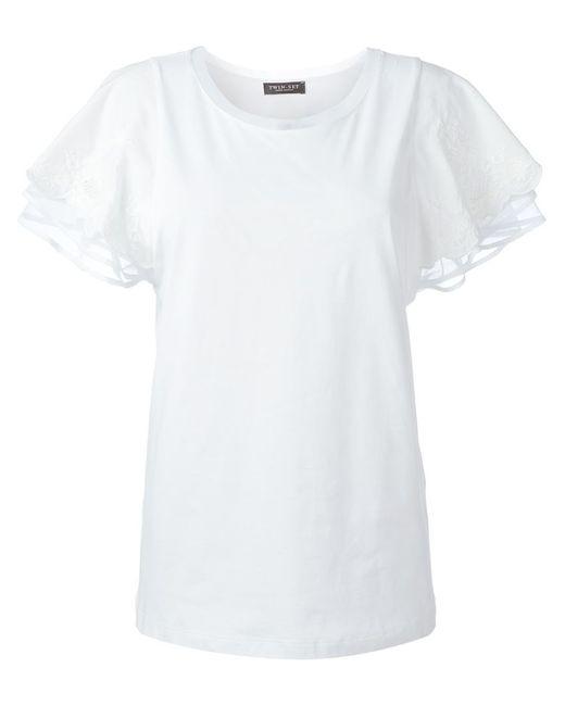 Twin-Set Jeans | Женская Белая Футболка С Вышивкой