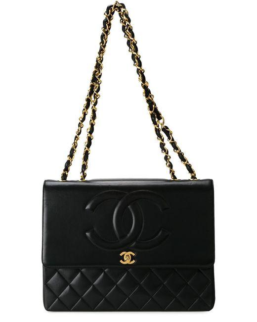 Chanel Vintage | Женская Чёрная Сумка На Плечо С Тисненым Узором