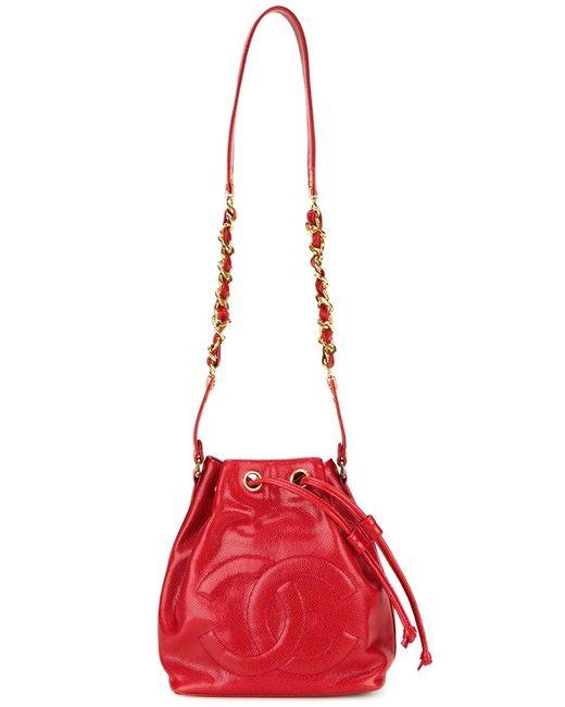 Chanel Vintage   Женская Красная Сумка-Мешок С Тисненым Логотипом