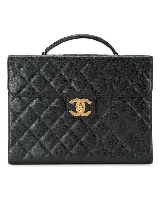 Chanel Vintage | Женский Чёрный Стеганый Портфель