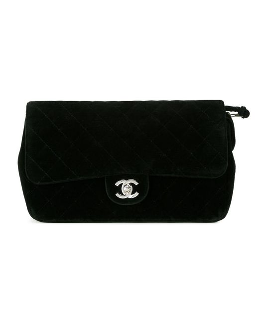 Chanel Vintage   Женский Чёрный Бархатный Рюкзак