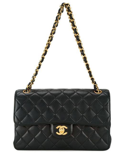 Chanel Vintage | Женская Чёрная Сумка На Плечо С Откидным Клапаном