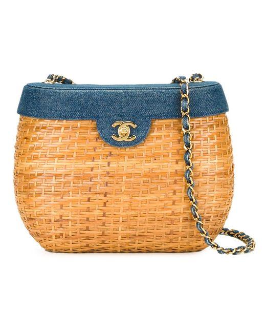 Chanel Vintage   Женская Коричневая Плетеная Сумка На Плечо