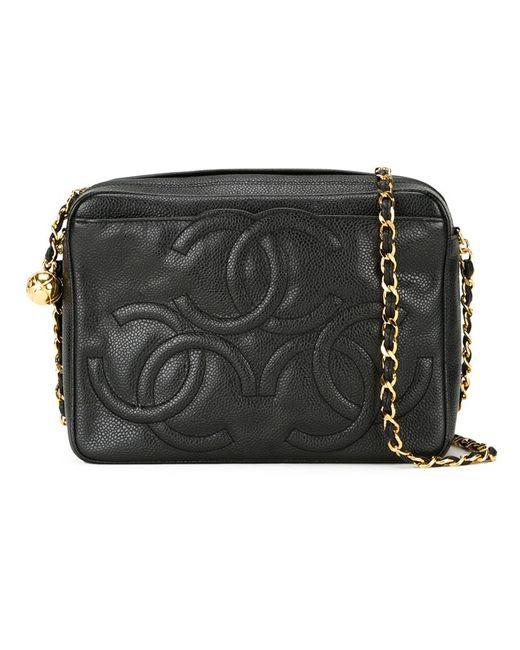 Chanel Vintage | Женская Чёрная Сумка Через Плечо С Тисненым Логотипом