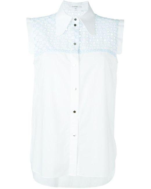 Carven | Женская Белая Рубашка Без Рукавов С Вышивкой